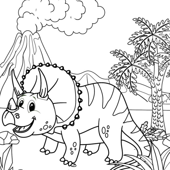 Happy Triceratops coloring