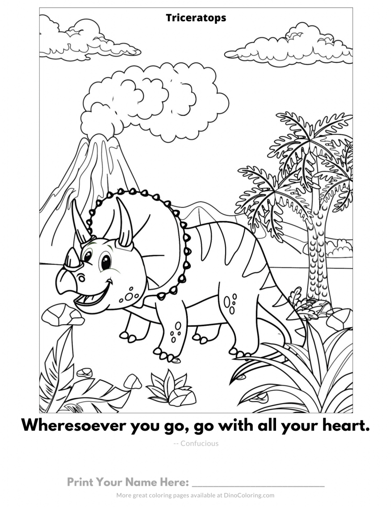 Happy triceratops - coloring page