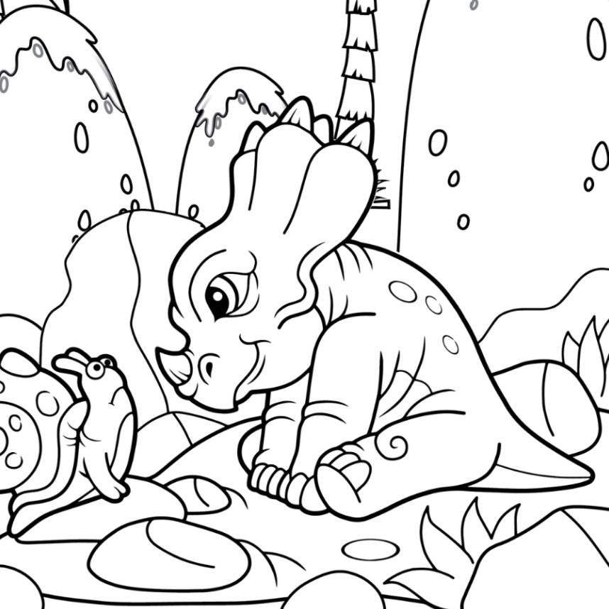 curious baby triceratops