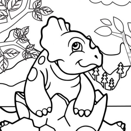 hatching baby triceratops