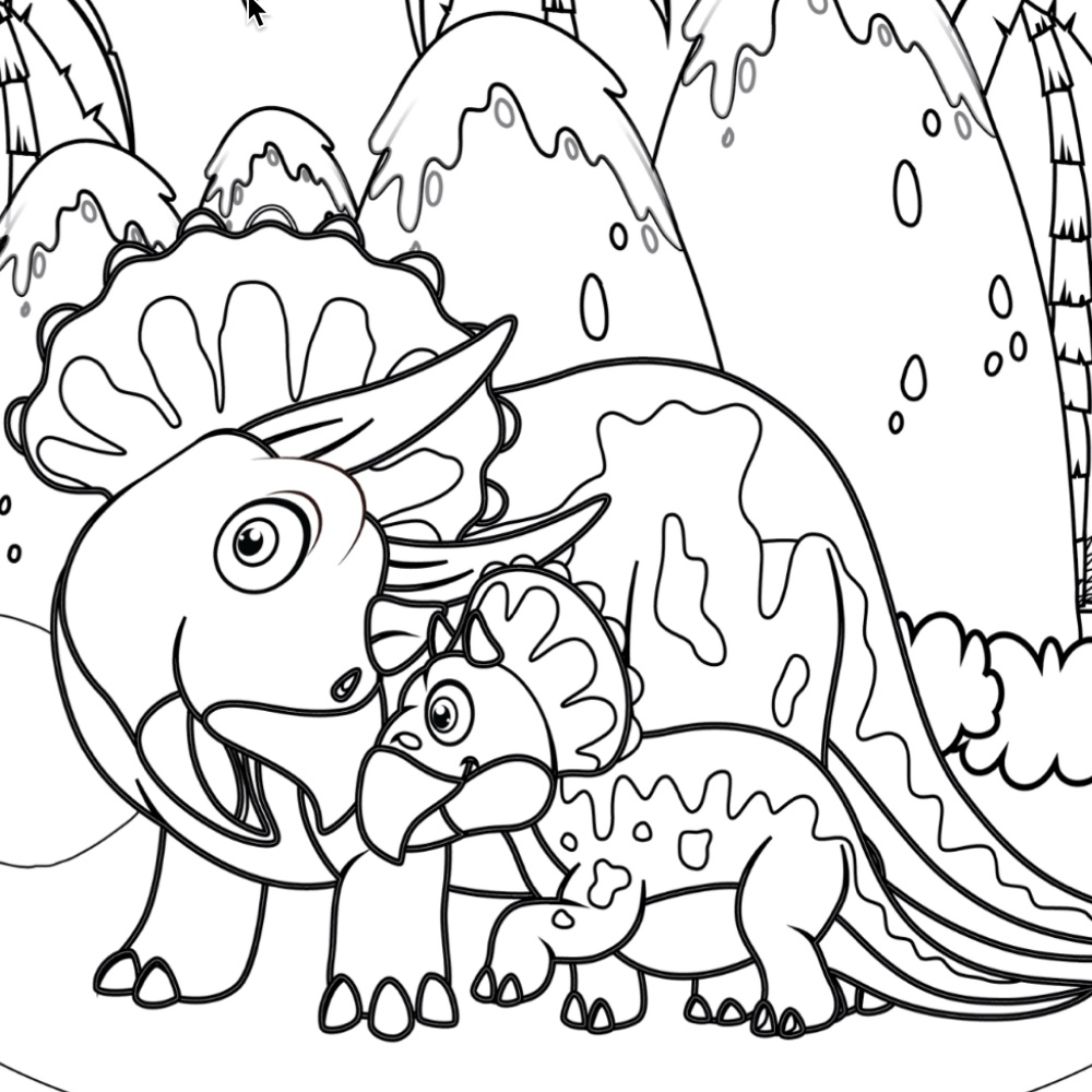 mom and baby triceratops